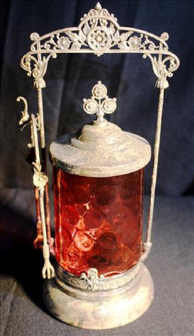 Silver-plate Victorian pickle caster with cranberry jar
