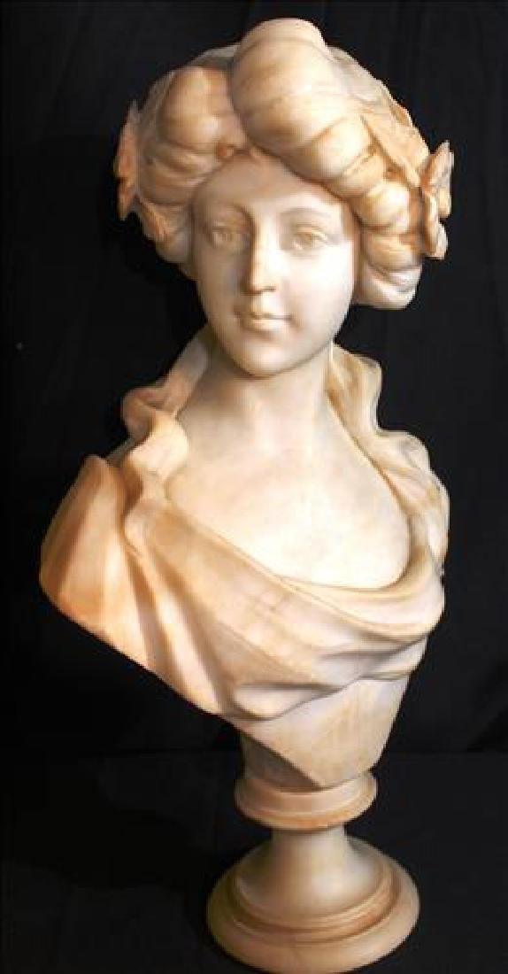 Marble bust of young girl, signed, 21 in. T.