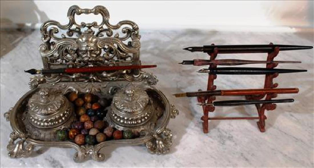 Silverplate Victorian ink well on stand w 5 extra