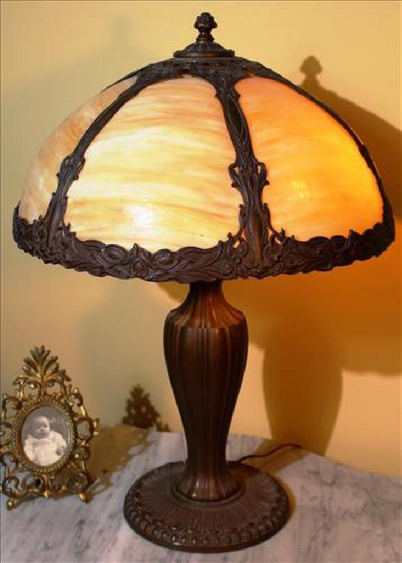 Ornate metal slag glass lamp 23in tall