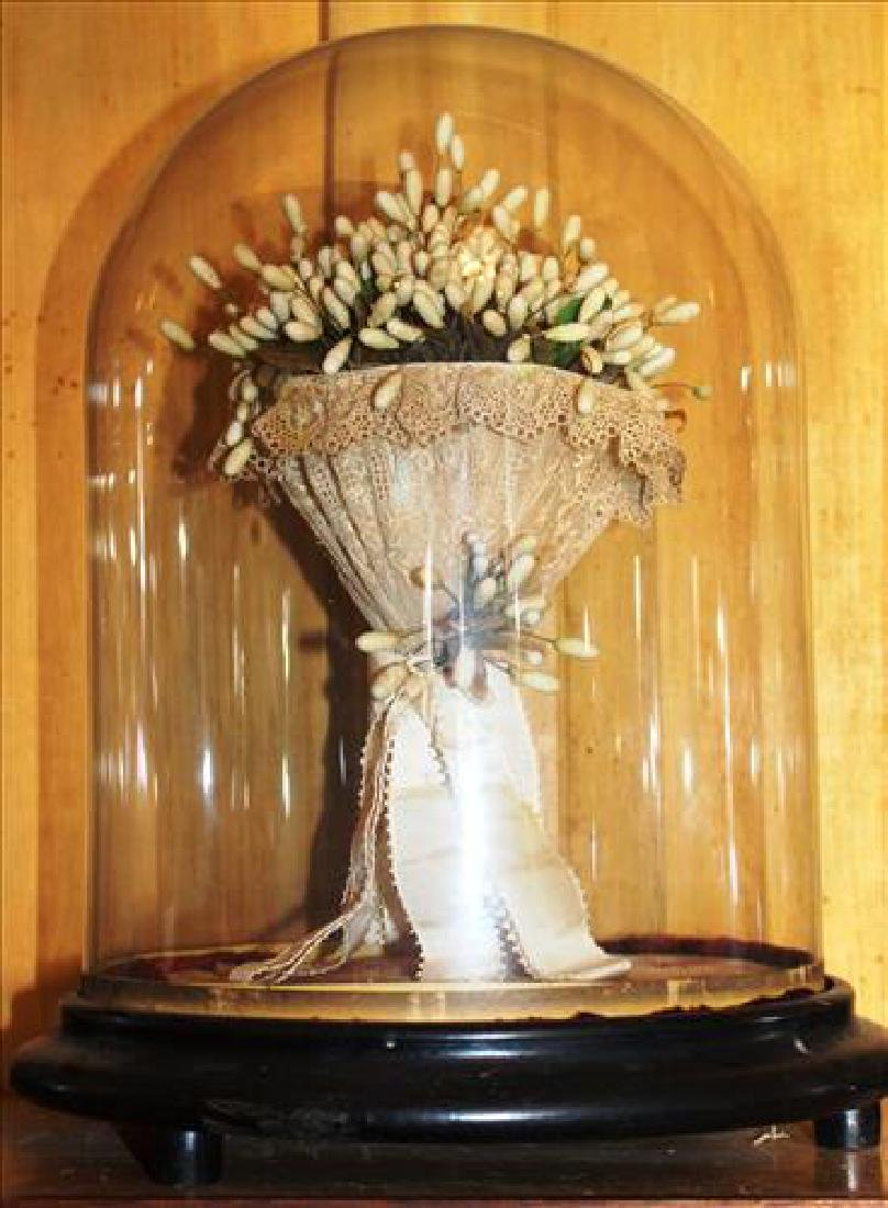 Victorian dome with wedding bridal bouquet, 15T