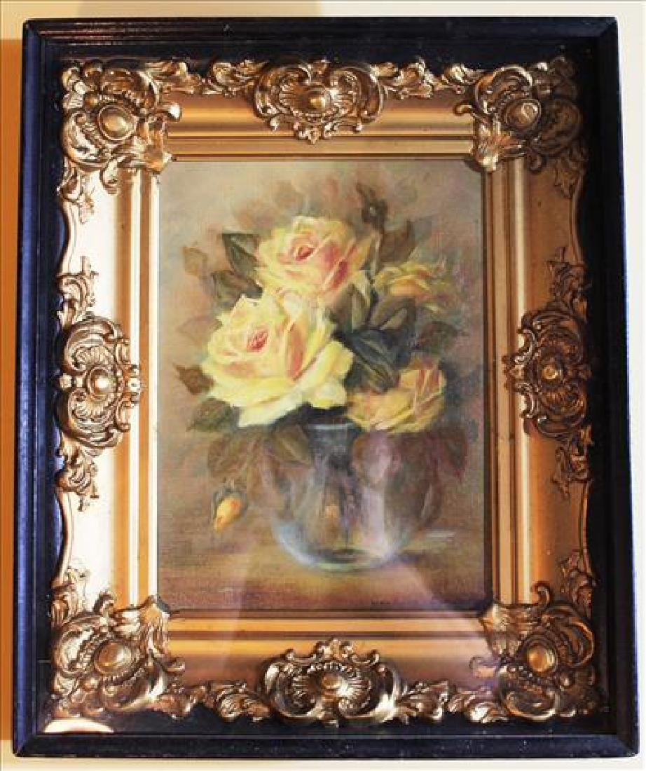 Contemporary Victorian painting of roses in shadowbox