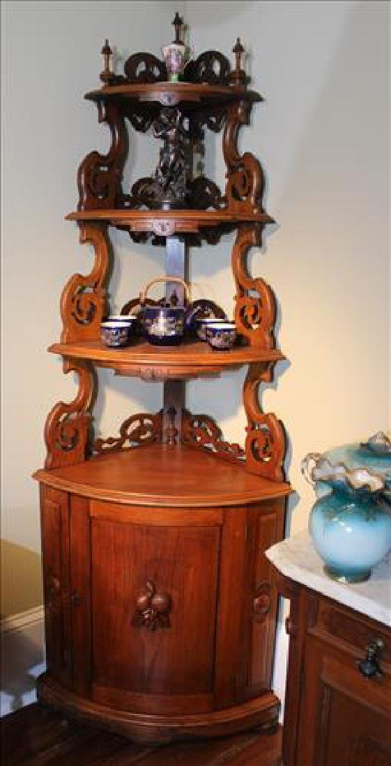 Walnut Victorian corner what-not shelf