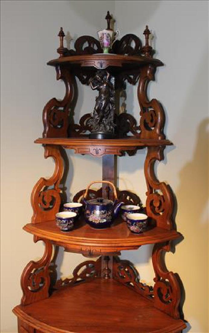 Walnut Victorian corner what-not shelf - 3