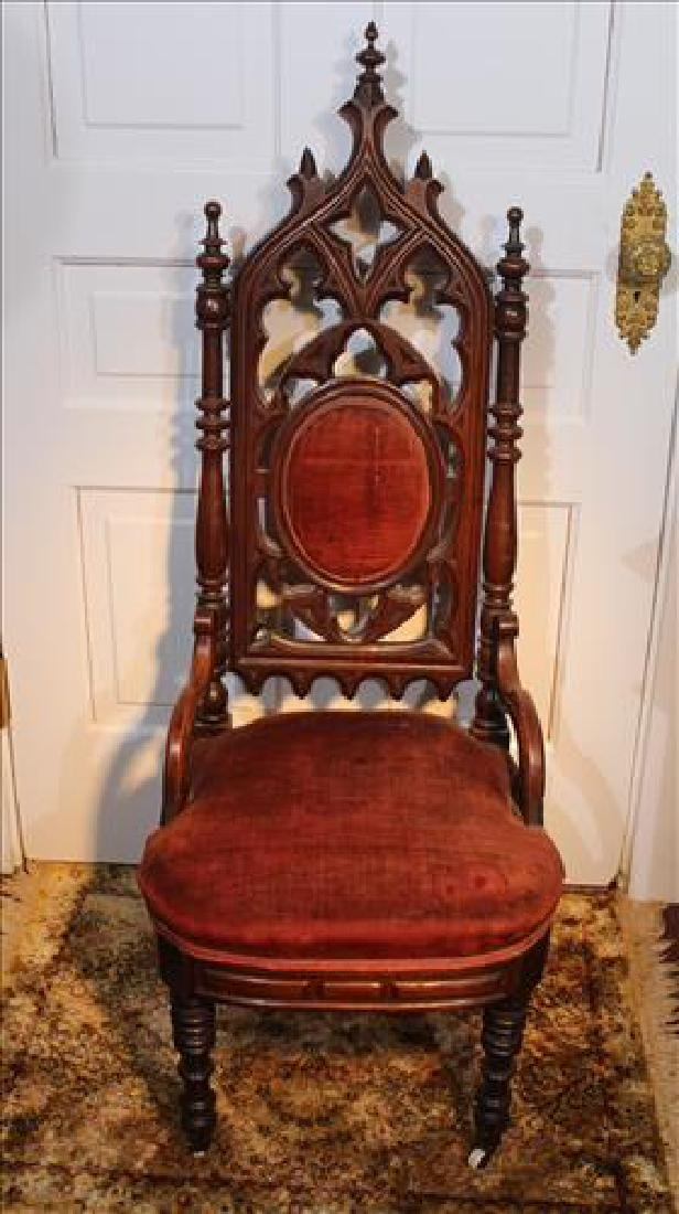 Walnut Victorian Gothic  parlor chair with velvet