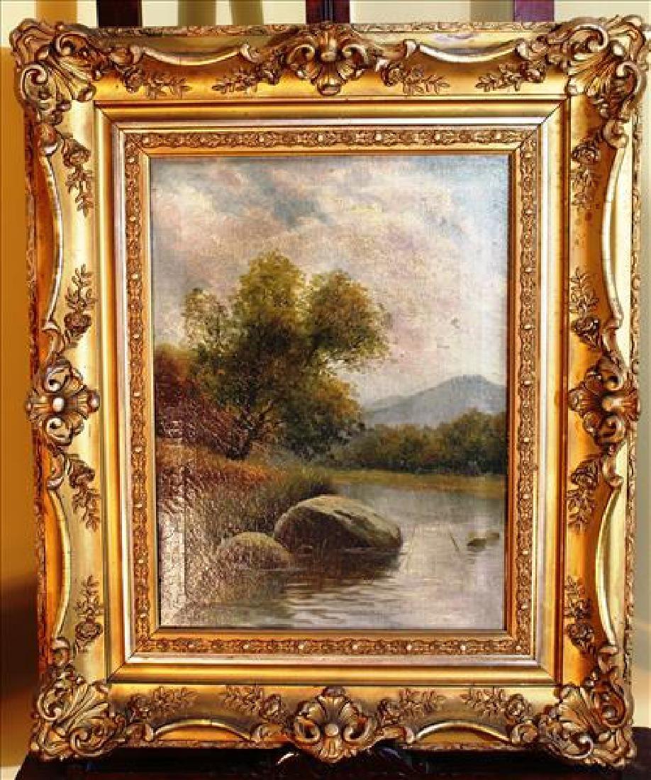 Oil on canvas of lake scene w ornate gold frame 24X20