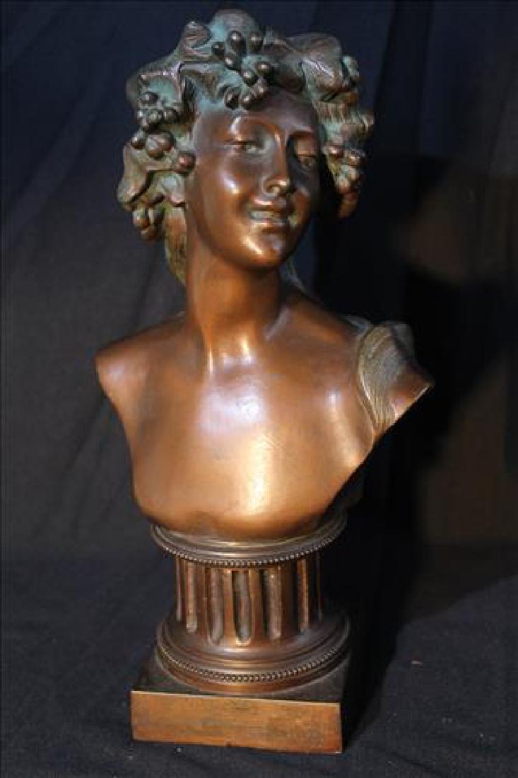 Antique bronze bust of Greek man on pedestal, 13 in. T.