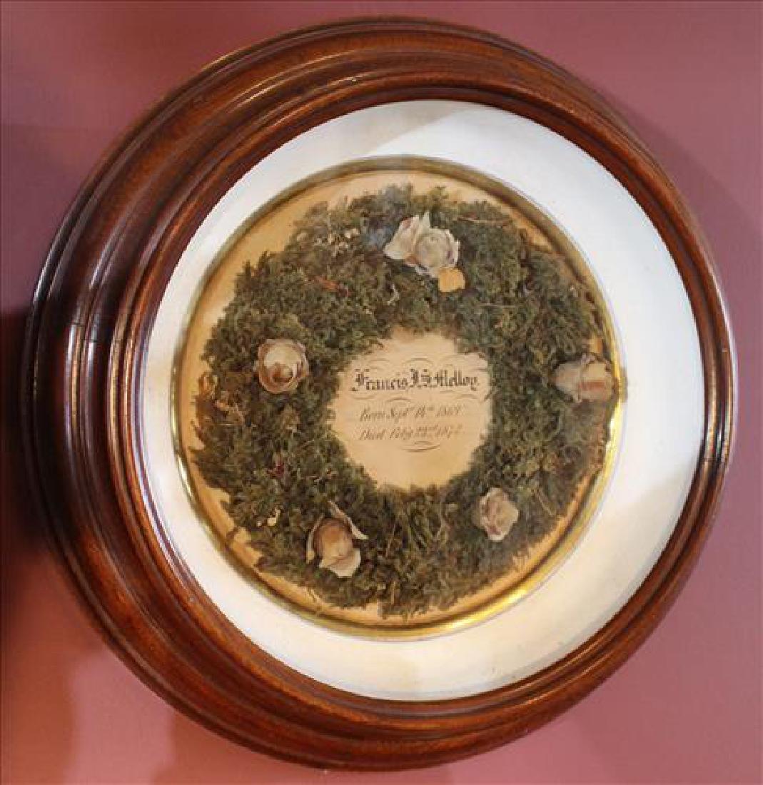 Victorian hair wreath in round shadowbox frame