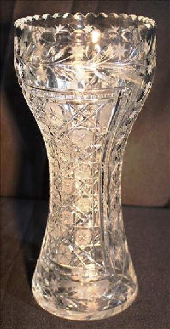Cut glass vase, 12  in. T, 5 in. Dia.