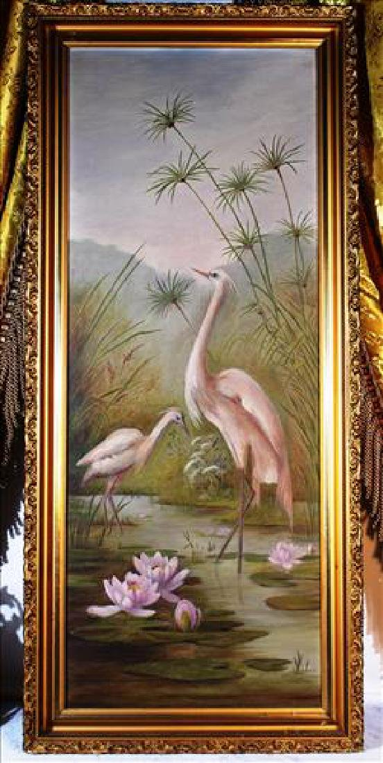Oil on canvas of two cranes in water, nice gold frame