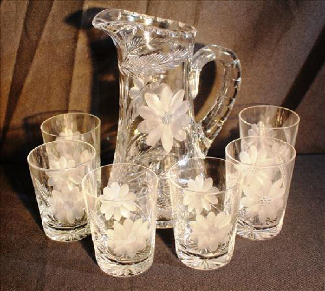 7 piece cut glass beverage set with pitcher, 6 glasses