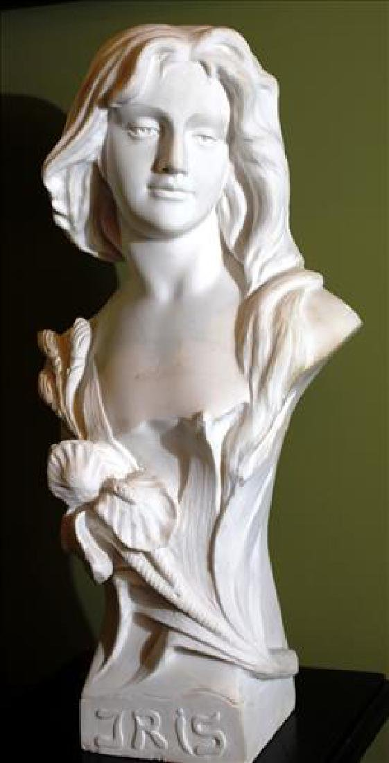 Very heavy white marble bust  of woman named iris