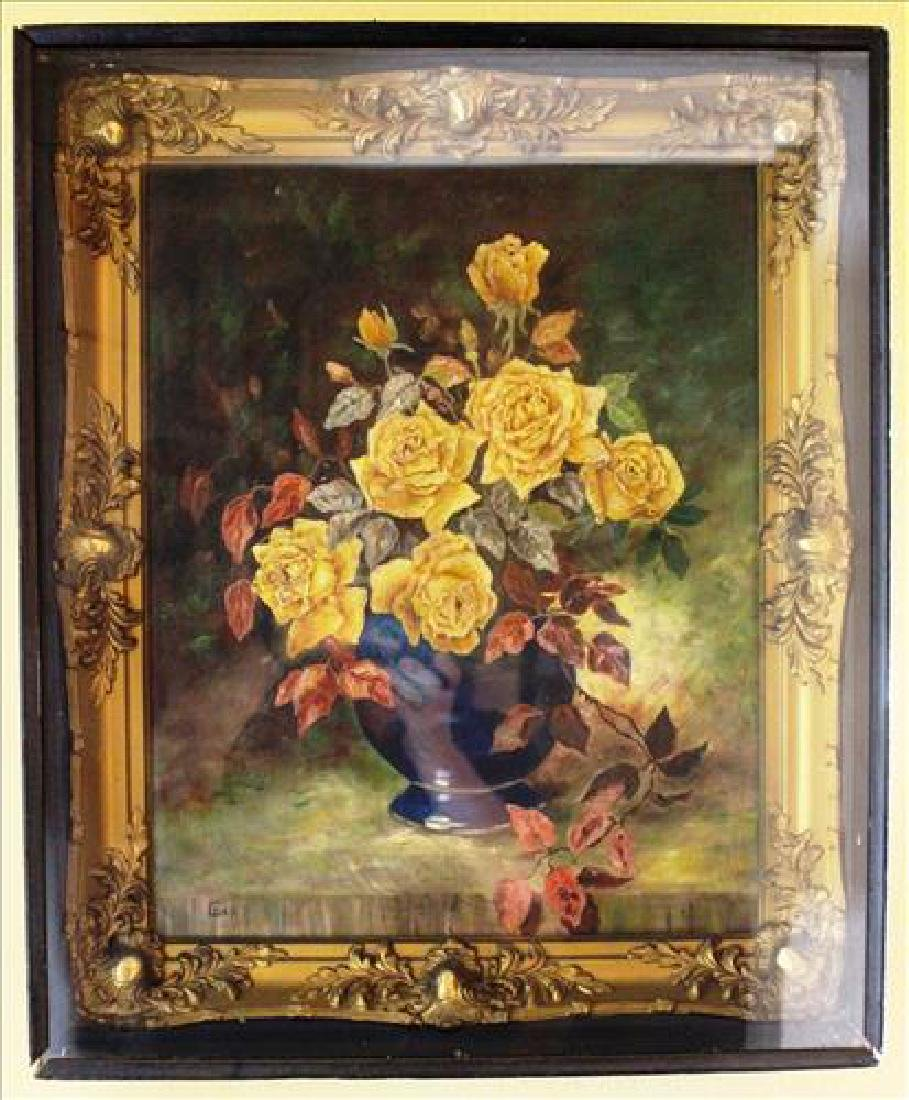 Gold shadow box with oil on board of still life