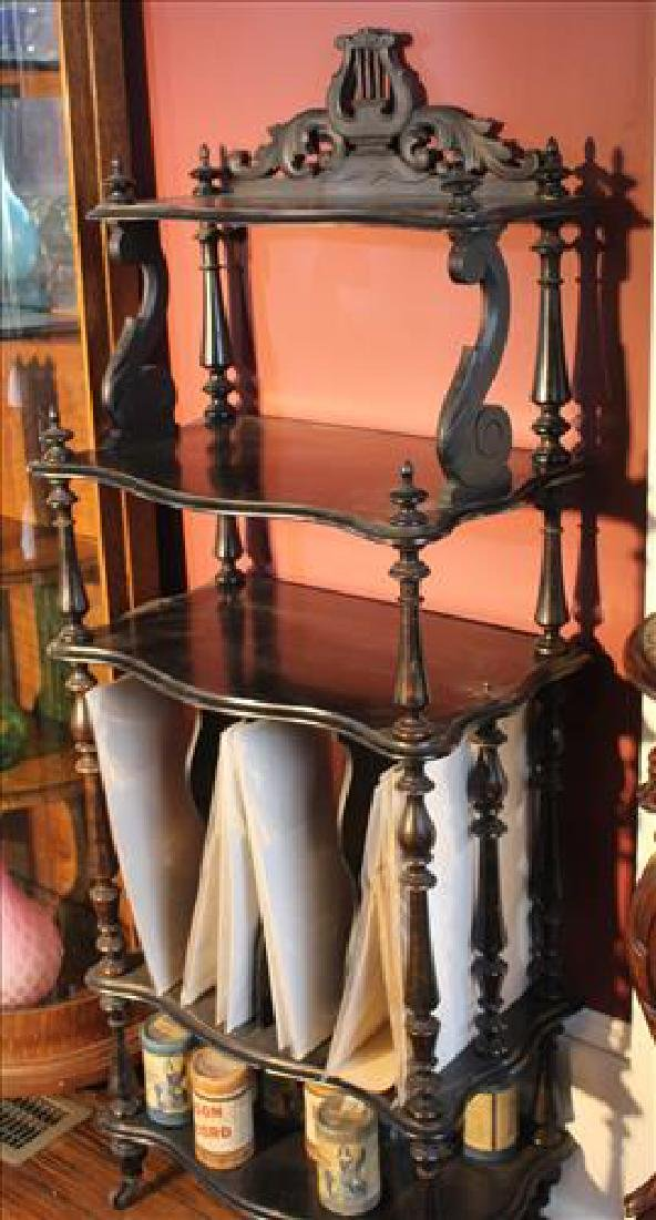 Black Victorian music stand with lyre crown