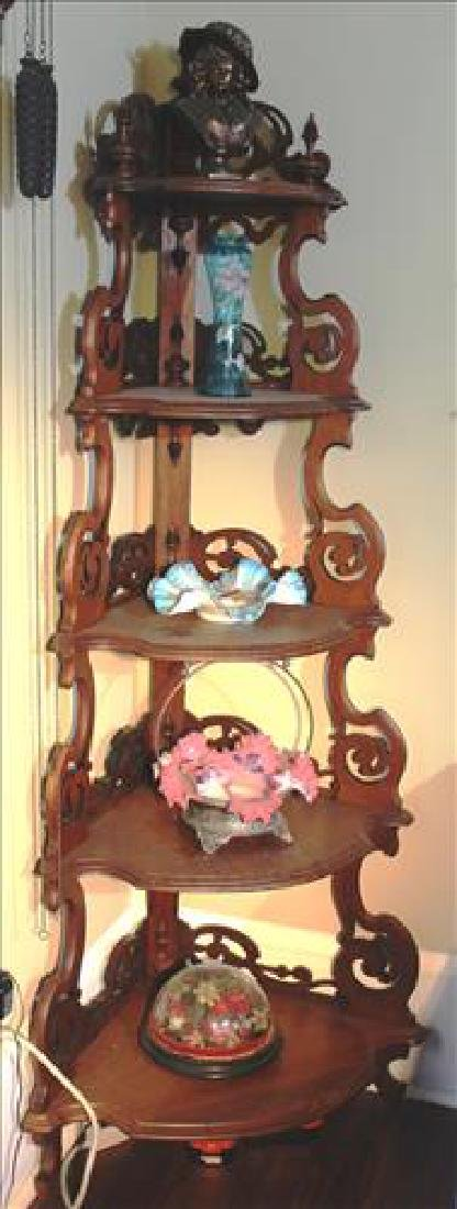 Walnut Victorian corner what-not shelf