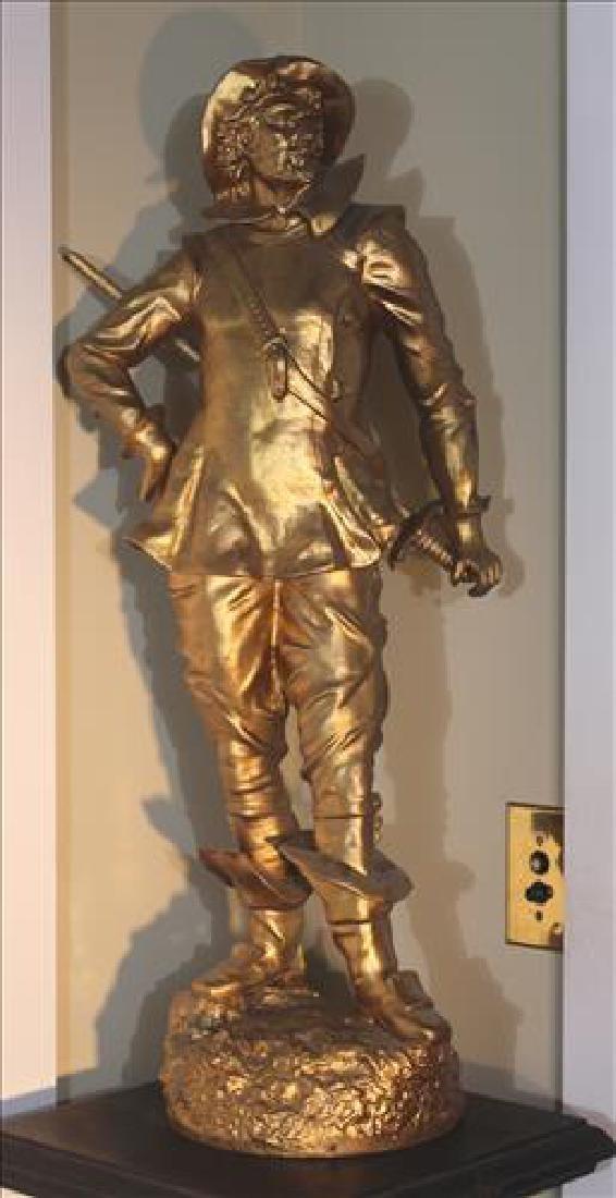 Pot metal gold painted statue of Spanish gentleman