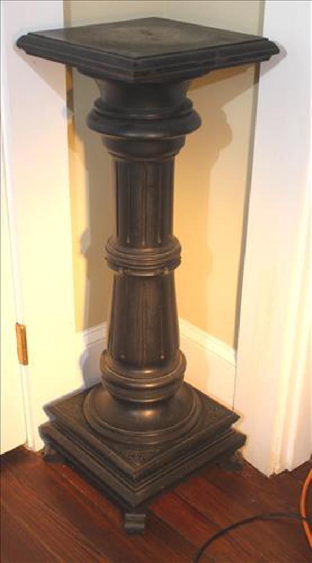 Victorian walnut pedestal, ebonized with column