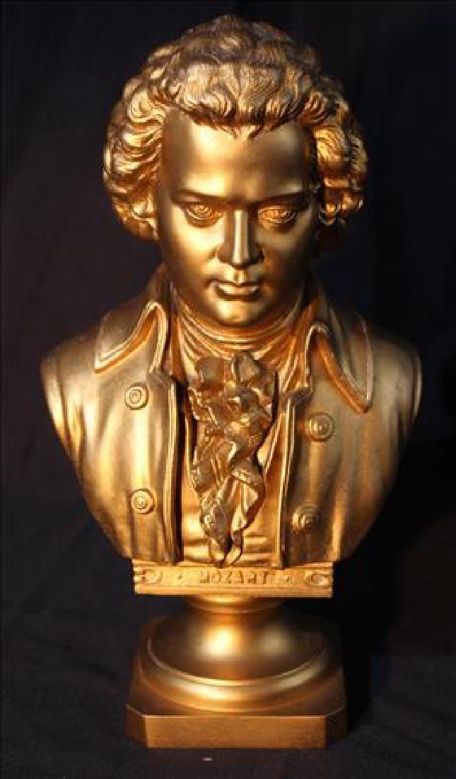 Gold gilt bust of Mozart, antique bronze, 10 in. T.