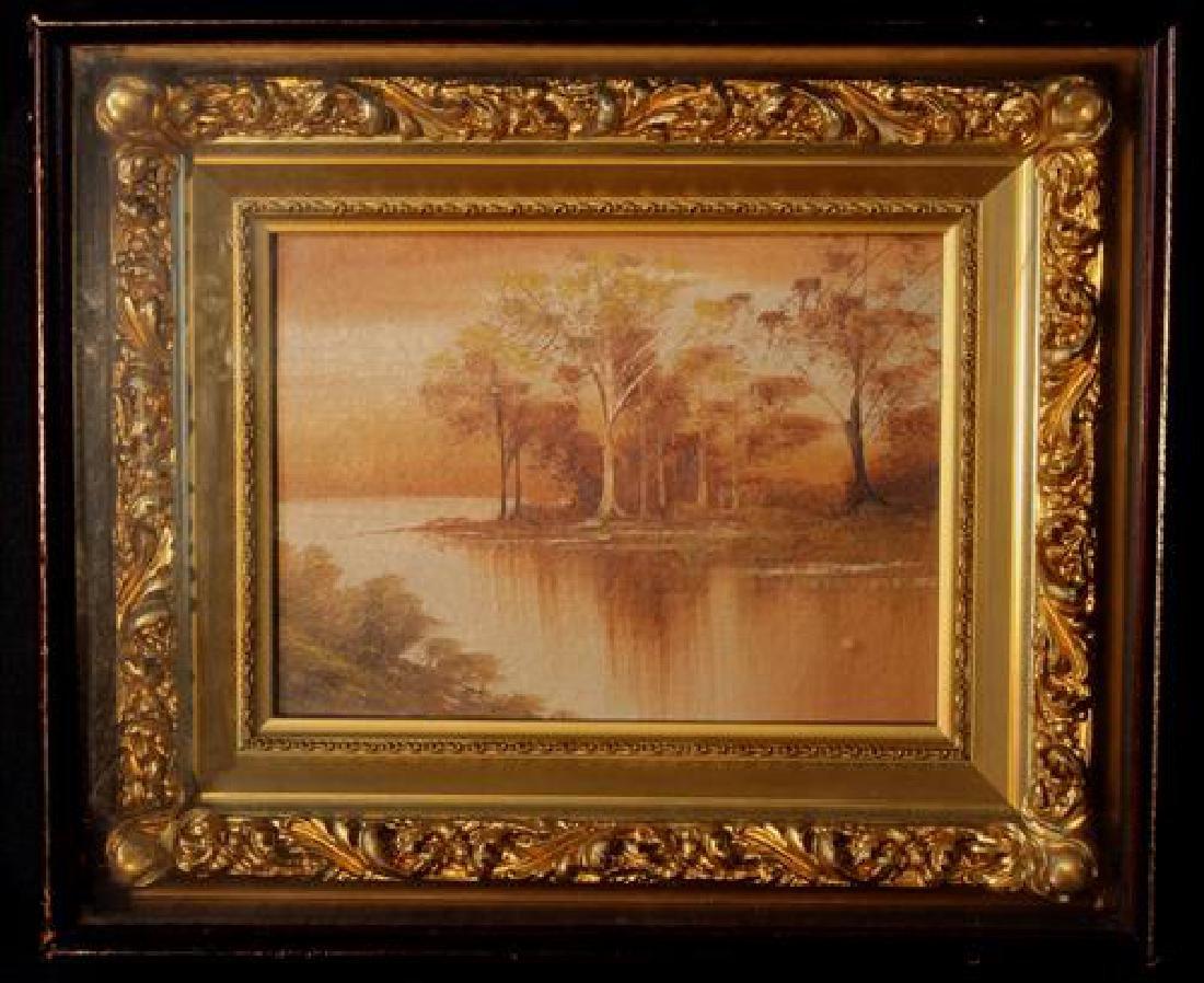 Victorian oil on board in walnut shadow box, 10 x 12