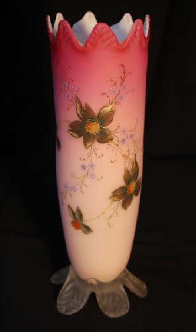 Victorian satin glass vase, hand blown, 9 in. T.