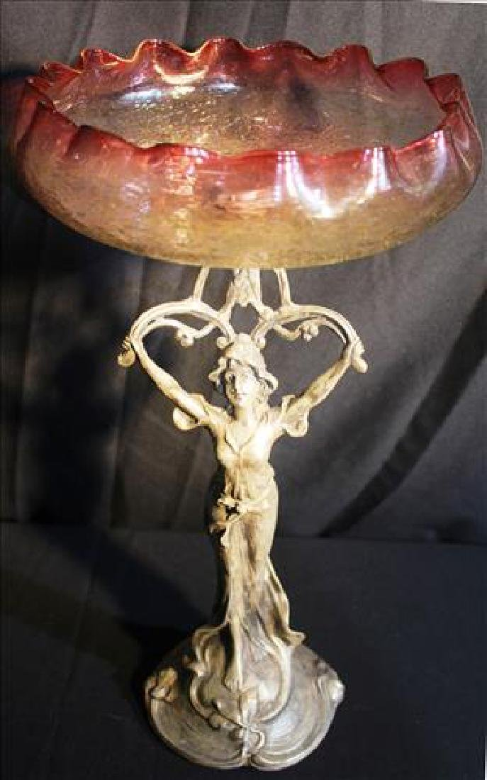 Victorian center bowl with figural support, crackle