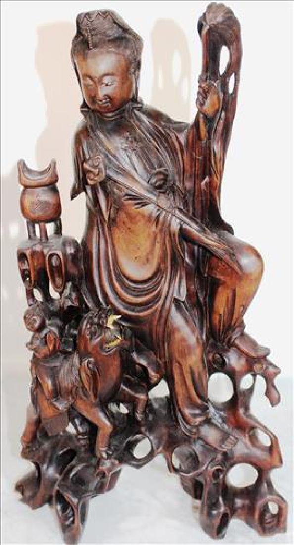 Asian wood carved figural sculpture, 18 inches tall
