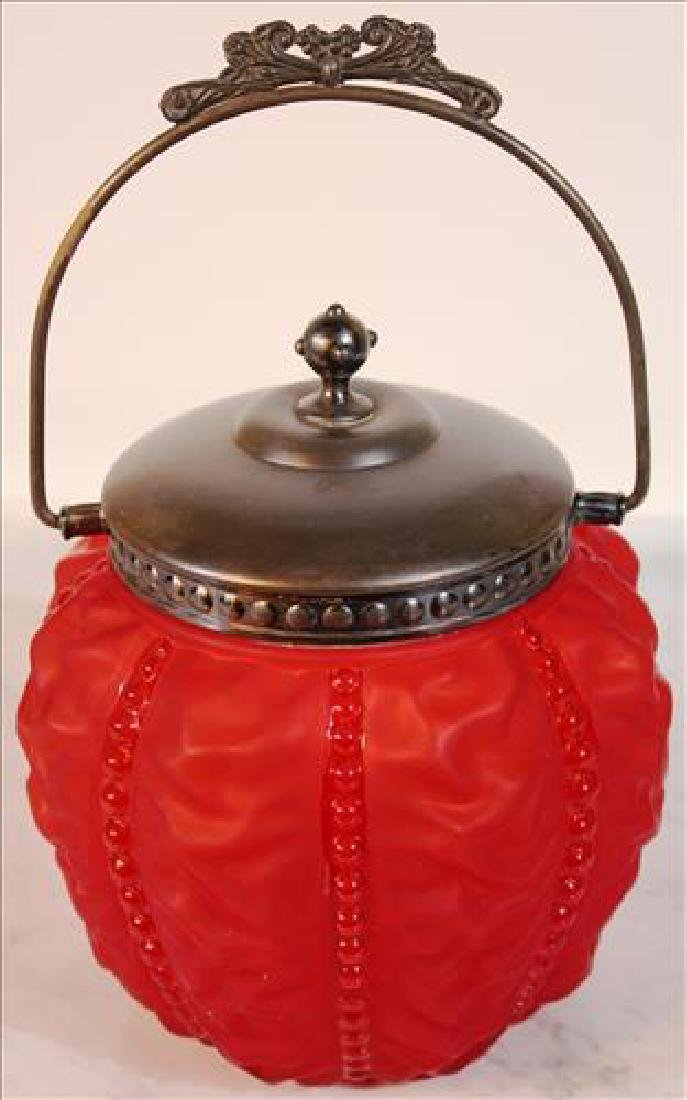 Red satin glass biscuit jar 11 inches tall