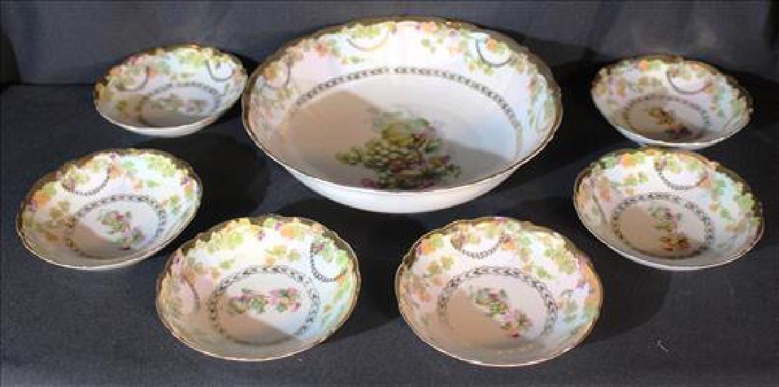 7 pc handpainted Bavarian berry bowl set, gold enamel