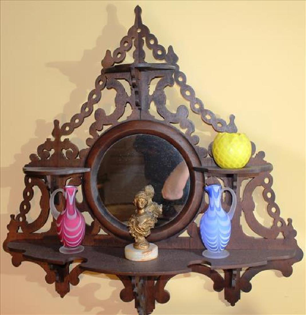 Walnut Victorian wall etergere w center mirror 32T, 30W