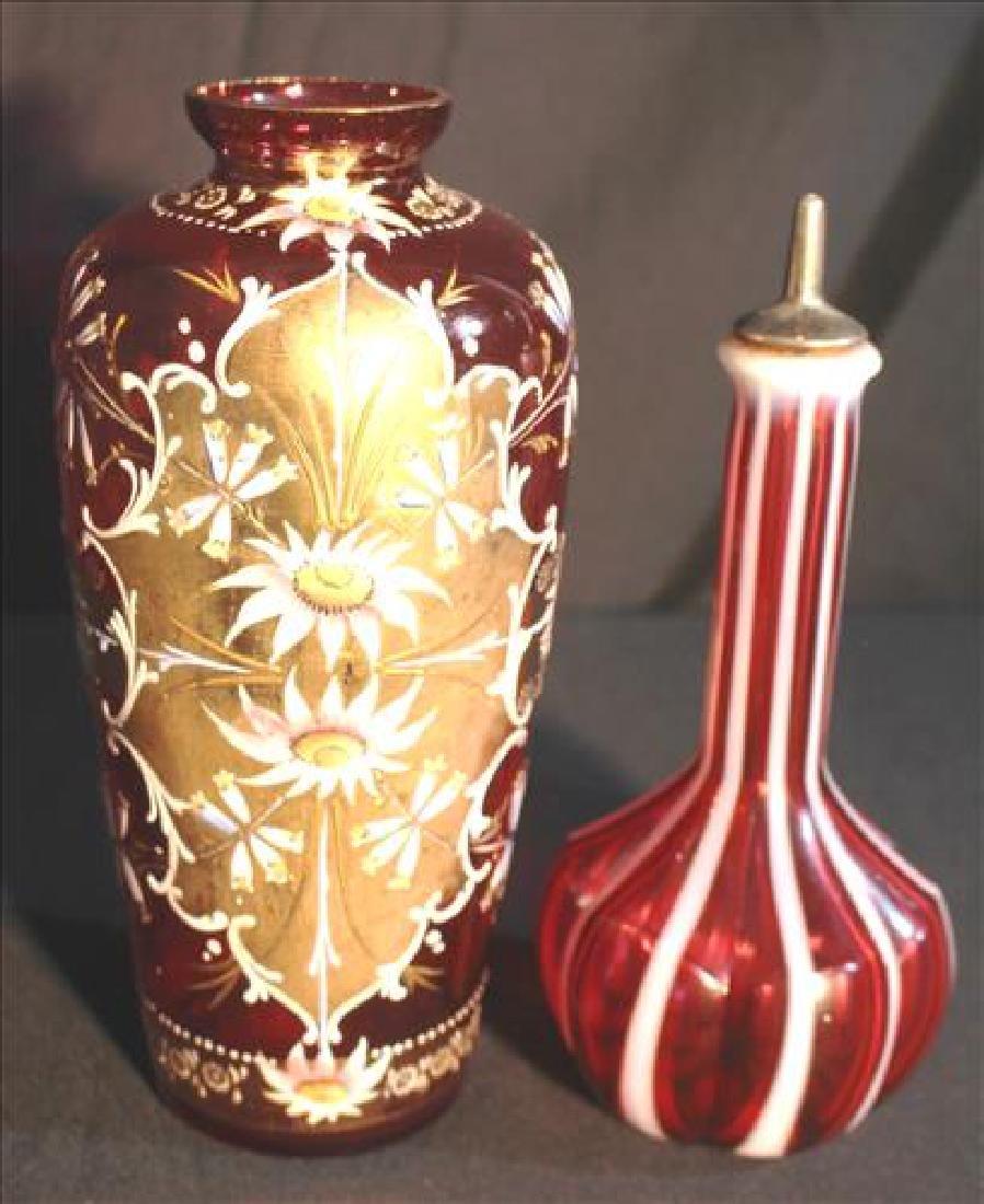2 piece Victorian art glass vases, 10 in, T.
