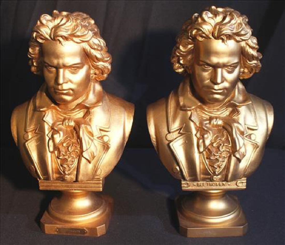 Pair gold metal Beethoven bookends, 12 in. T, 7 in. W.