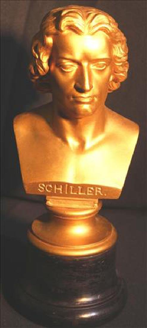 Metal bust of Schiller with wood base, 11 in. T.