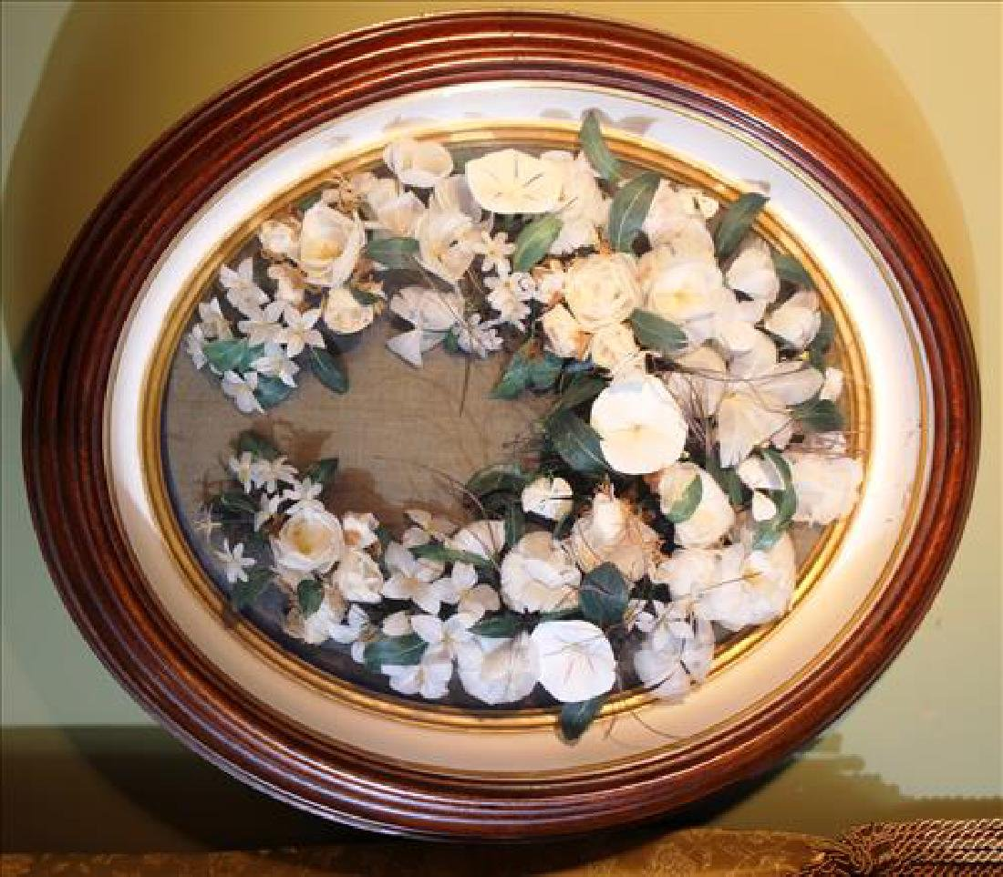 Victorian walnut  shadowbox frame with flowers