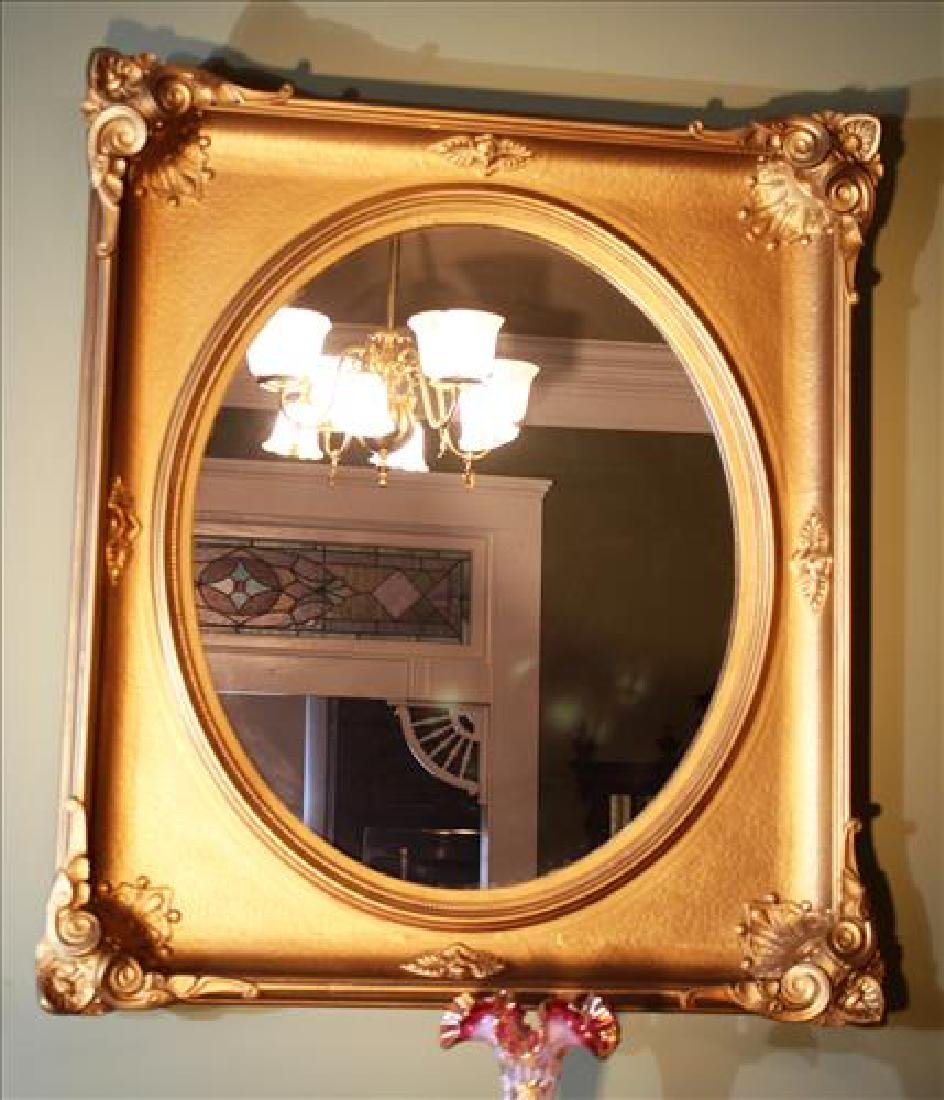 Oval gold Victorian hanging mirror, 39 x 34.5