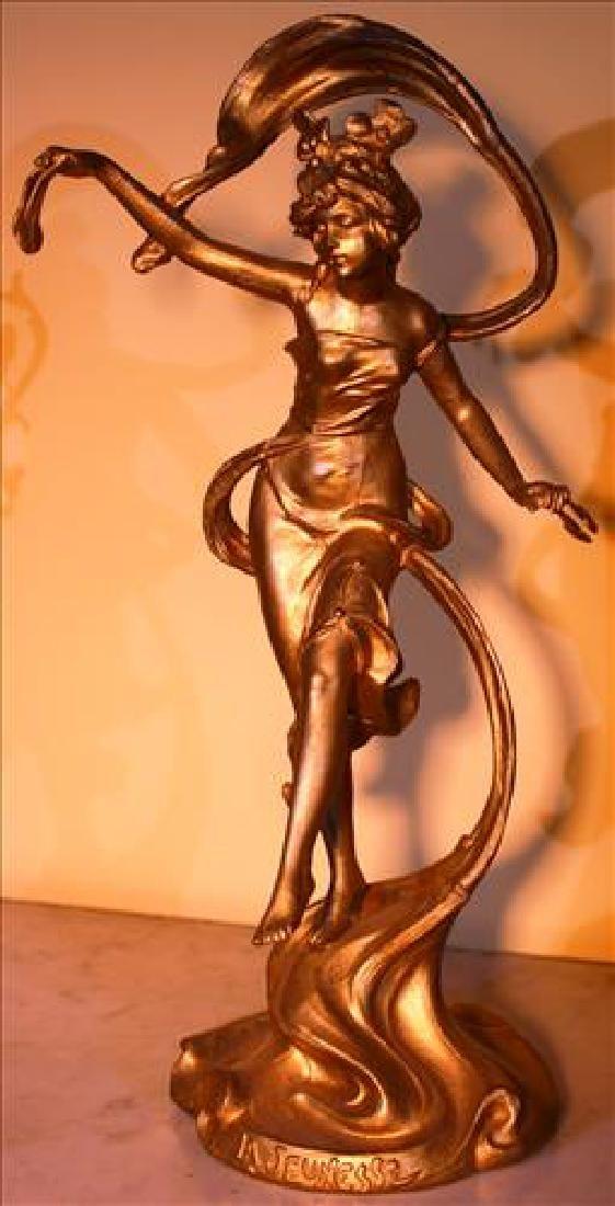 "Art Nouveau spelter statue of girl titled ""La"