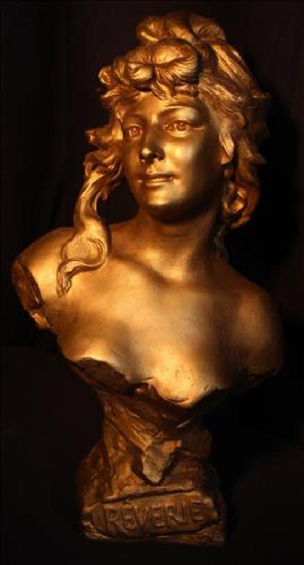 """Cast metal bust of woman titled """"Reverie"""", signed"""