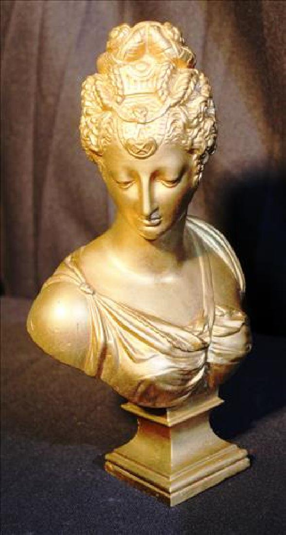 Small bronze bust of woman painted gold, 10T