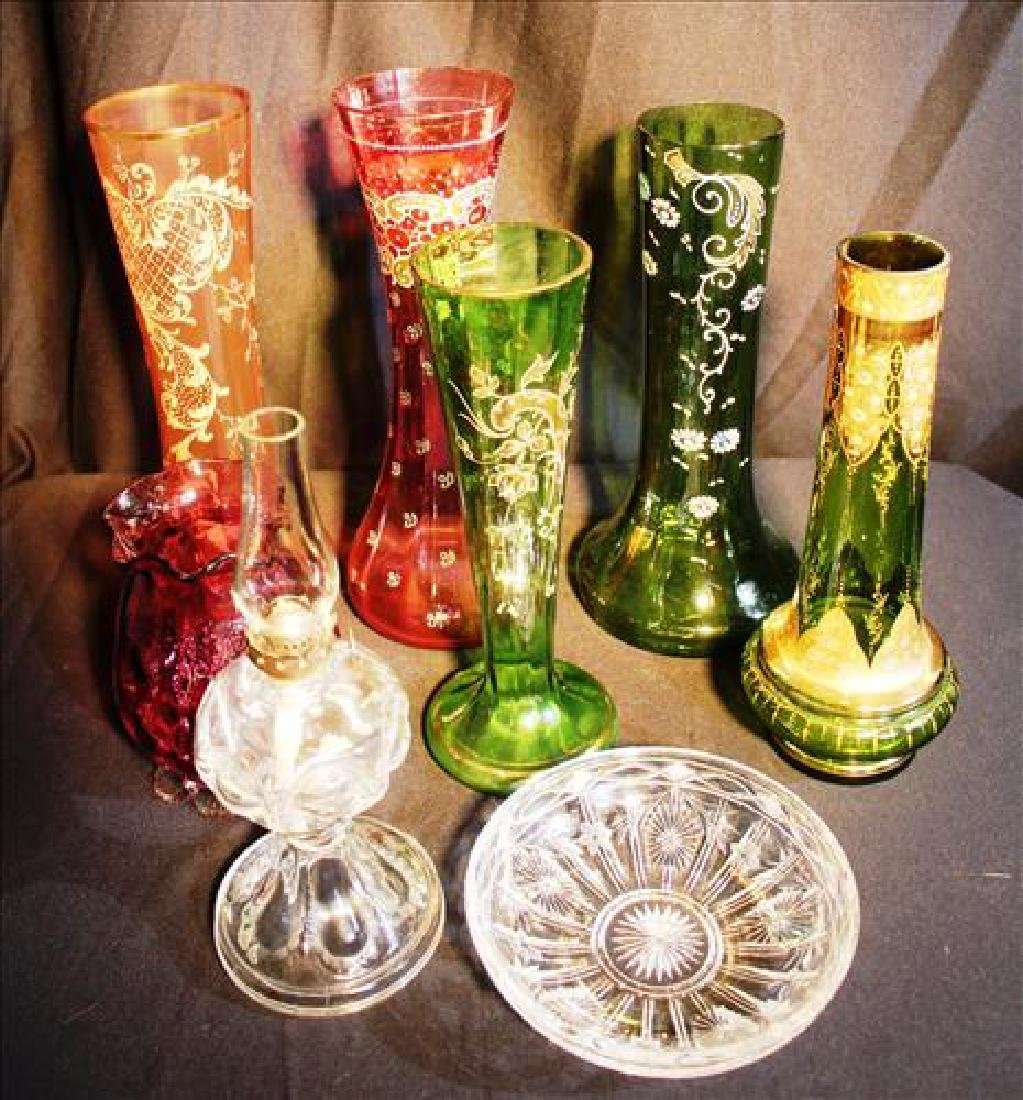 8 pieces of Victorian art glass