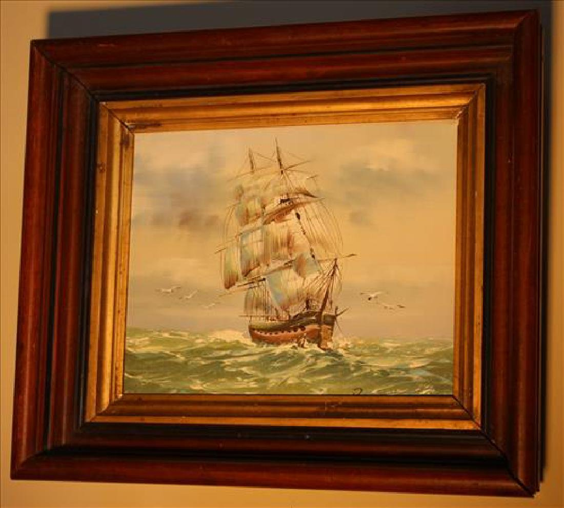 Contemporary painting of a ship in old shadowbox frame