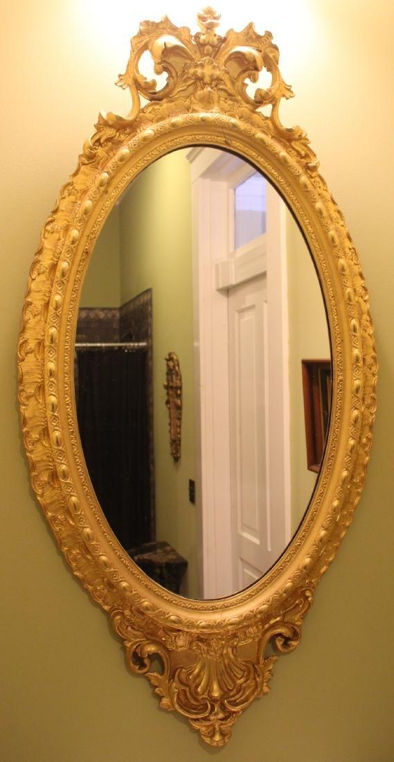 Walnut Victorian gold gilt hanging mirror, 54 in. T, 27