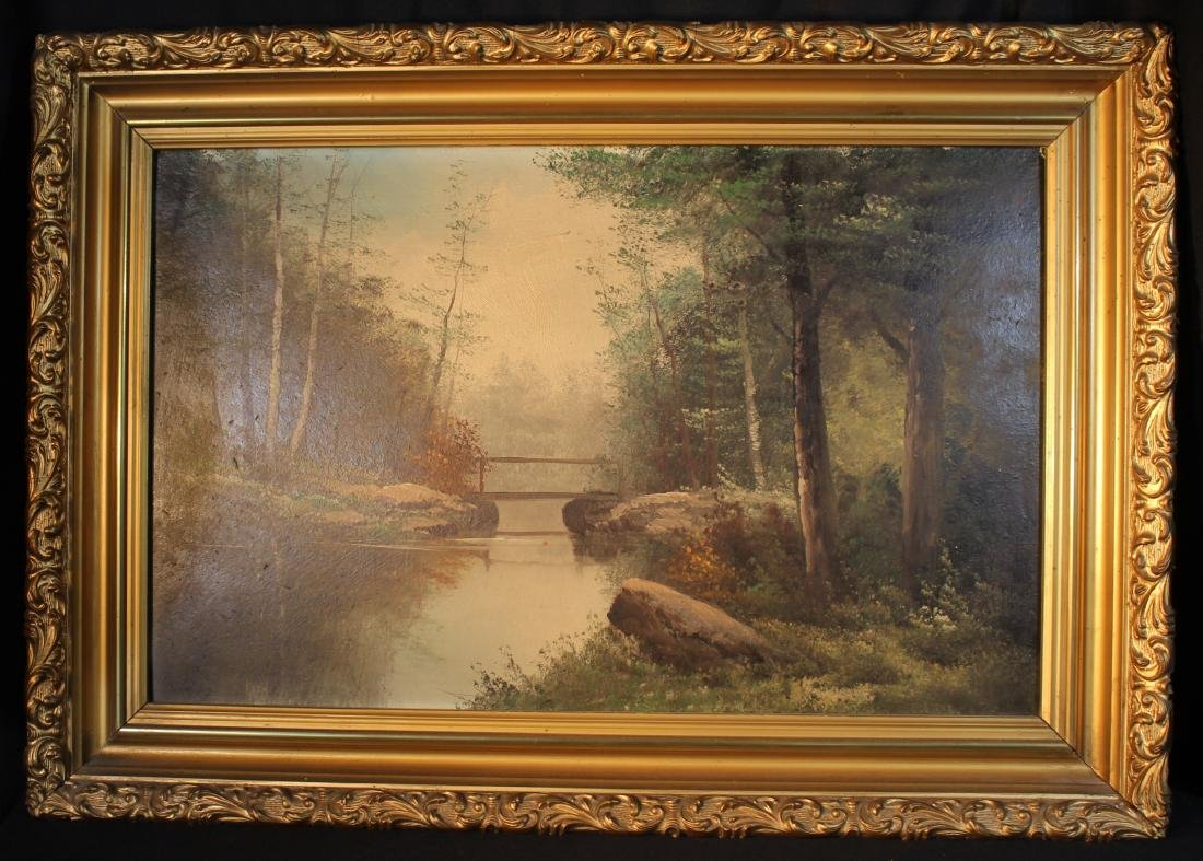 Oil on board of forrest scene with bridge in gold gilt