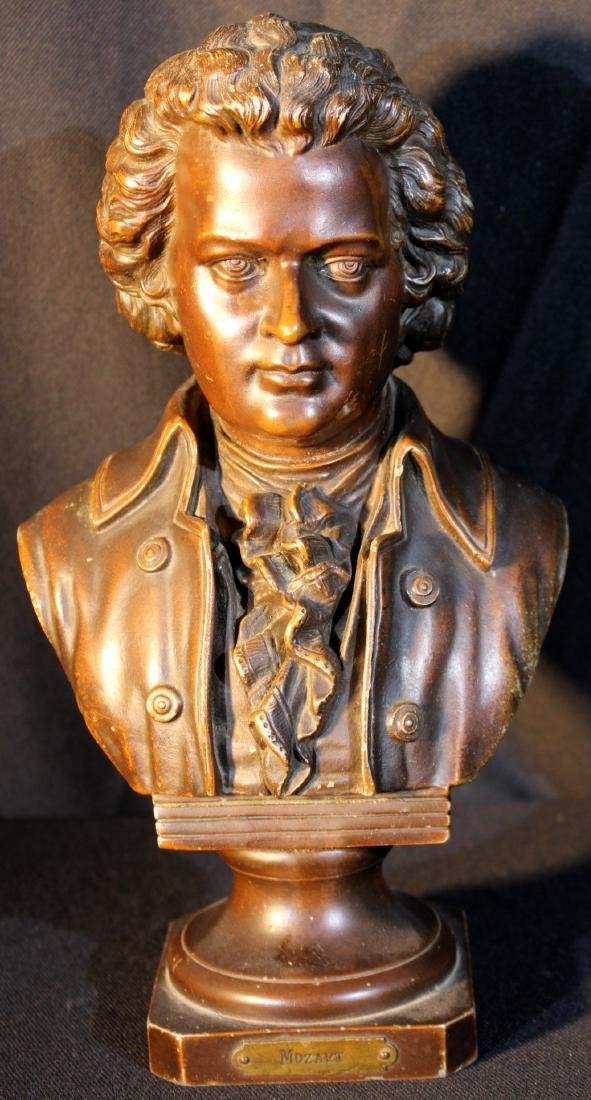 Small spelter bust of Mozart, 11 inches tall
