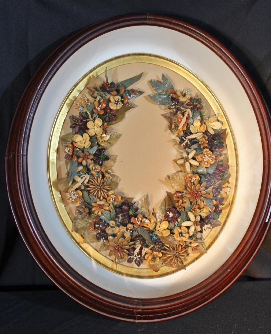Walnut Victorian shadowbox frame with flowers, 18 in.