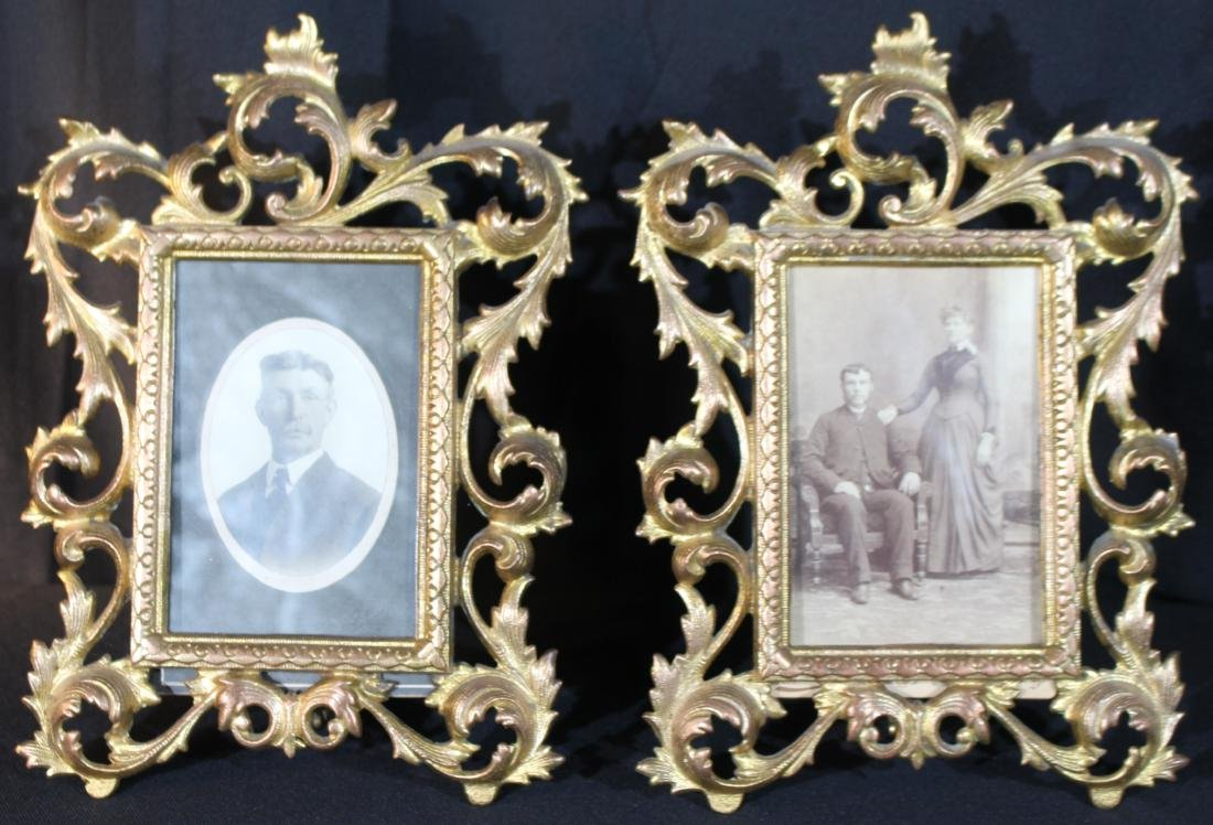 Matched pair gold gilt brass frames with 19th century