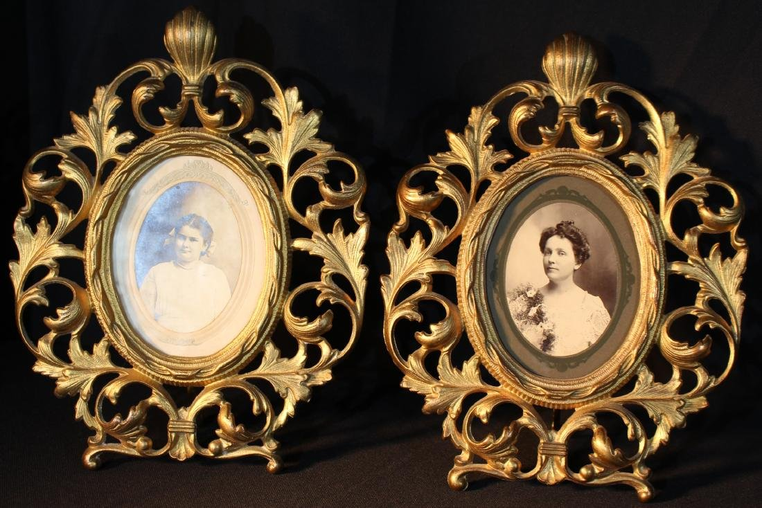 Matched pair gold gilt brass frames, 10 in. T, 9 in. W