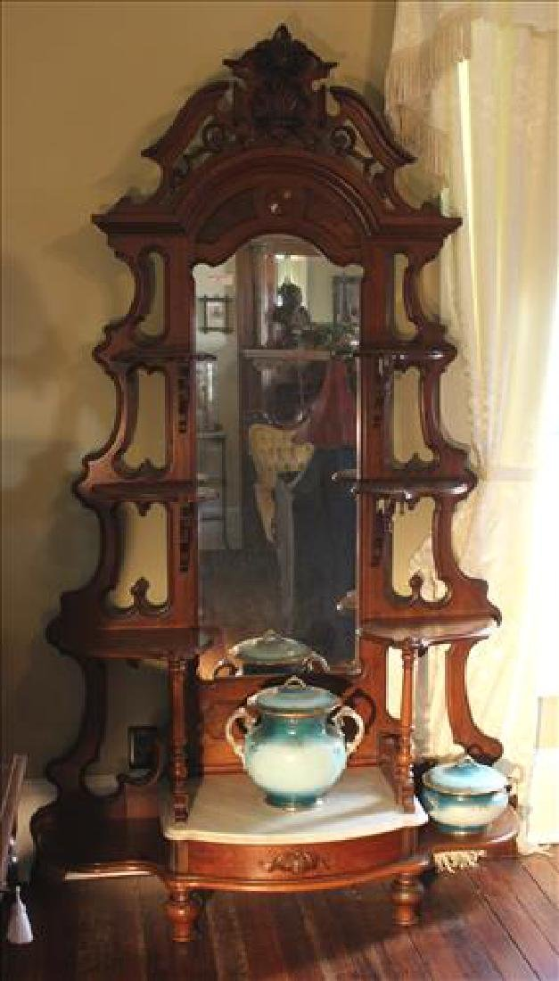 Walnut Victorian etagere with marble insert