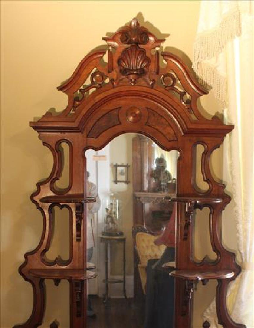 Walnut Victorian etagere with marble insert - 2