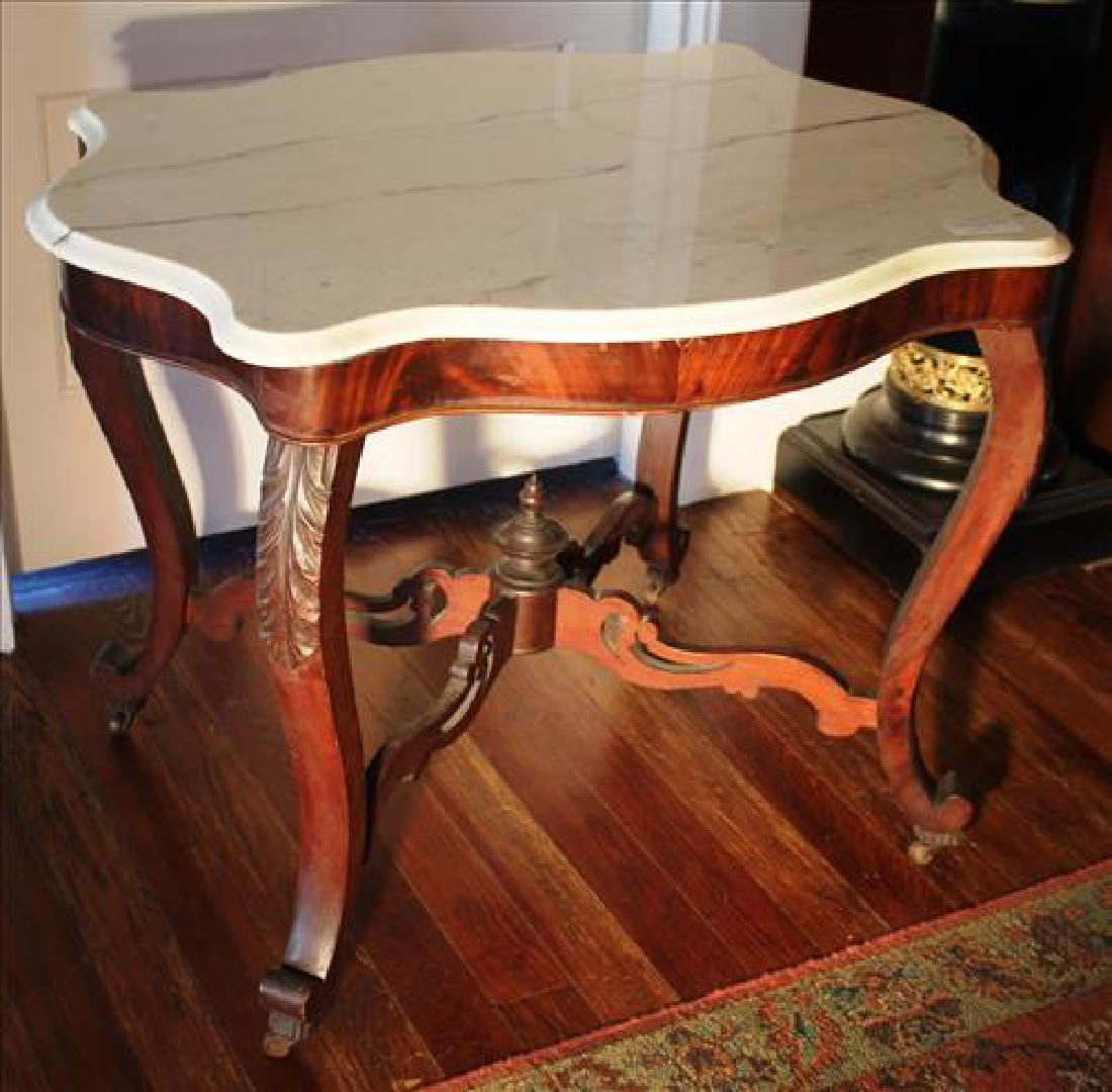 Walnut Victorian parlor table with white marble