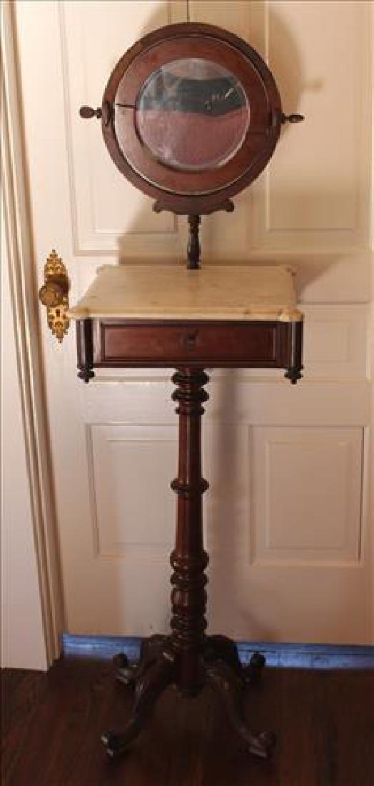 Walnut Victorian shaving stand with mirror