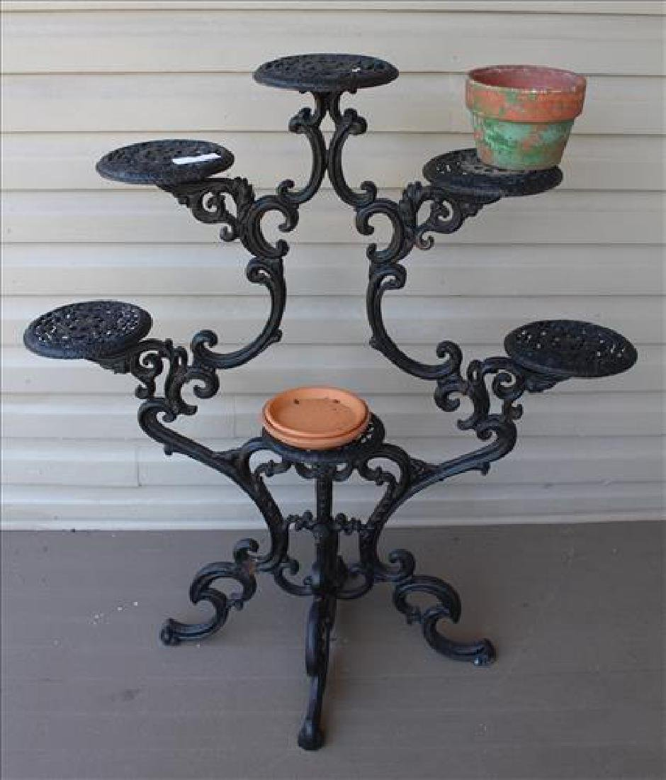 Black cast iron plant stand, true antique, 41  in. T,
